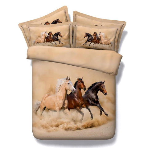 Brown and Black Wild Horses · Bamboo Fabric · 4 piece - Duvet Life