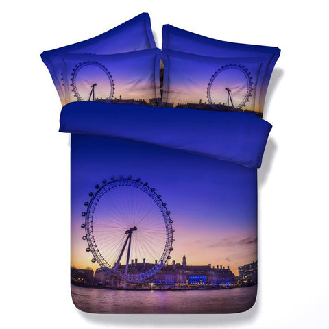 3D Blue Ferris Wheel Bedding Set Cotton Full Queen King - Duvet Life
