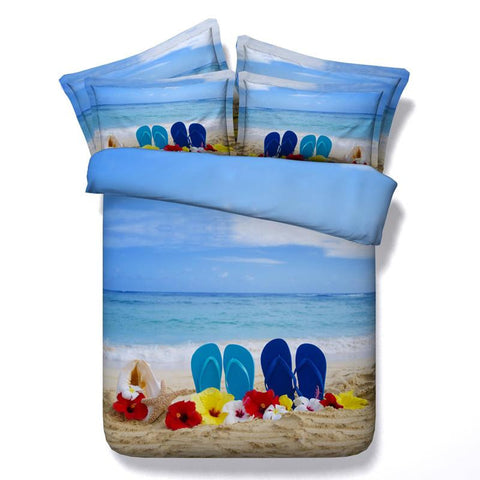 3D Blue and Brown Beach Days Bedding Set Cotton Full Queen King - Duvet Life