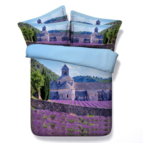 3D Bedding Set Purple Flowers of Abbaye de Senanque, Full Queen King - Duvet Life