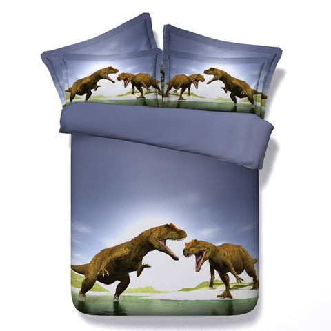 3D Brown and Blue T Rex Brawl Bedding Set Cotton Full Queen King - Duvet Life