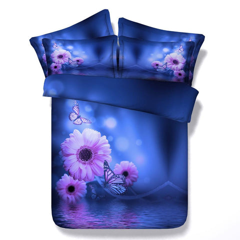 3D Blue and Purple Flower Bedding Set Cotton Full, Queen and King 4 pcs - Duvet Life