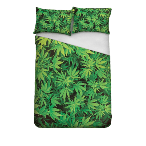 Rich Green Weed Plants Bedding Set Polyester full size 3 Pieces