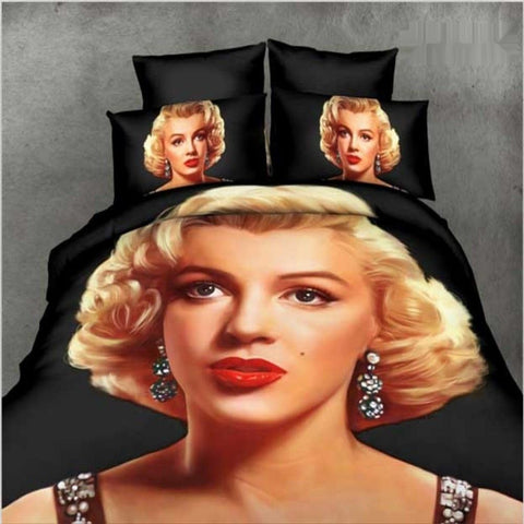 Black & Red Marilyn Monroe Bedding Set. Sizes Full, Queen & King 4pcs - Duvet Life