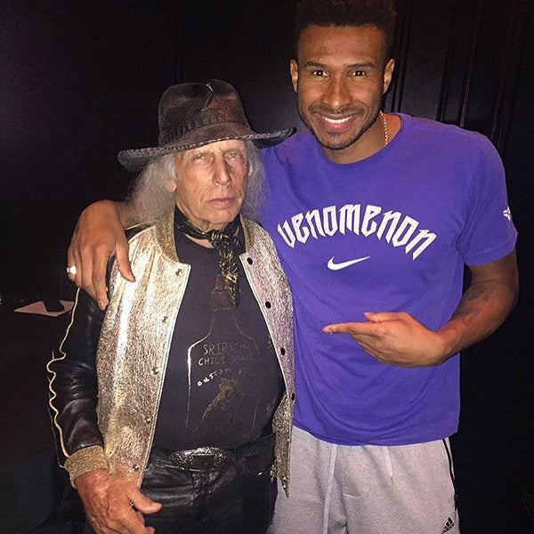 The Legend @jamesfgoldstein wearing @customketchup with NBA Star @theblurbarbosa