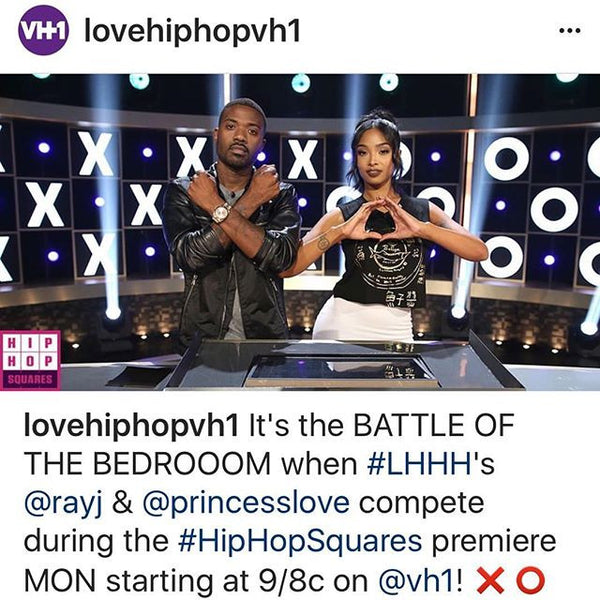 Watch @rayj and @princesslove wearing @customketchup on Hip Hop Squares tonight on VH1 !