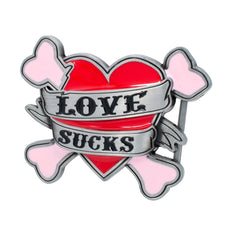 Love Sucks Heart & Cross Bones Girly Tattoo Belt Buckle