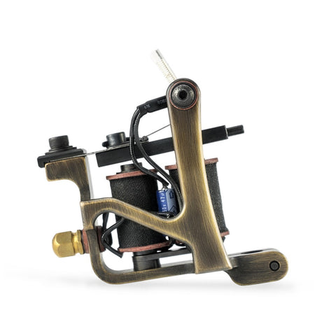 HM Jonesy Shader Antique Finished Brass Coil Tattoo Machine (Main)