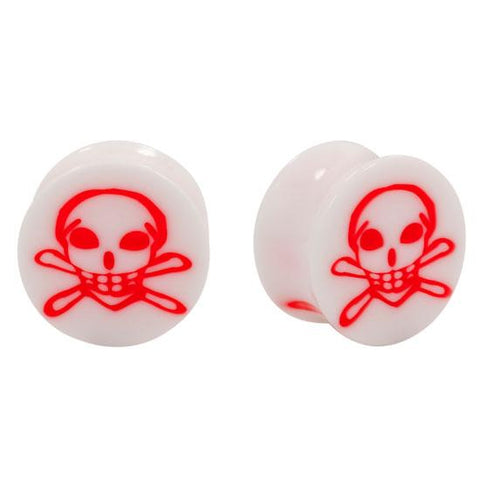Acrylic Red Skull Inlay Double Flared Plugs