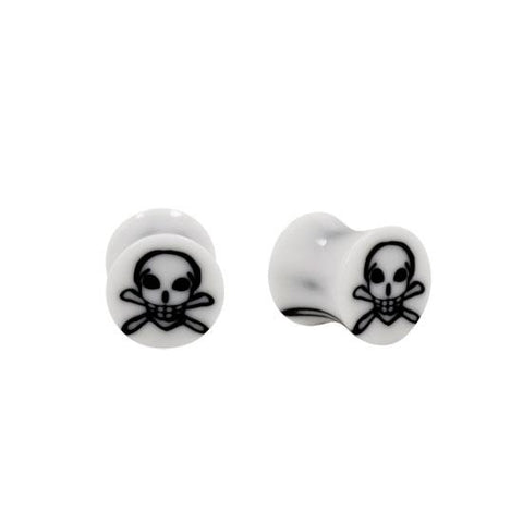 Acrylic WHITE Skull Inlay Double Flared Plugs
