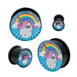 Acrylic Unicorn Rainbow Single Flared Plugs With Black O-RING