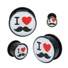 Pair | Generic |Acrylic Single Flare Plug with 1x O-Ring | I (Heart) Mustache
