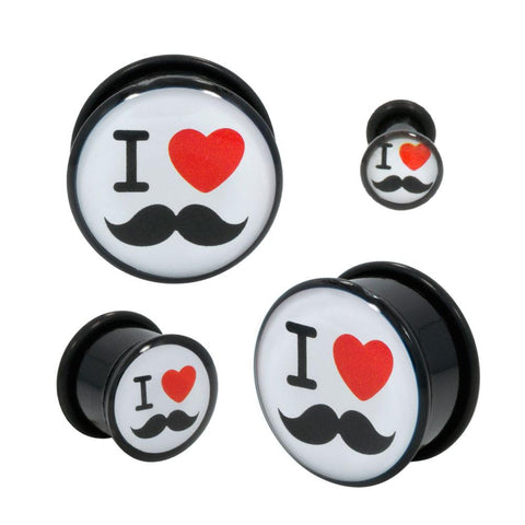Acrylic Heart Mustaches Single Flared Plugs With BLK O-RING