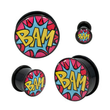 Acrylic Comic Book BAM! Single Flared Plugs With BLK O-RING