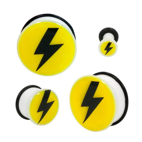 Acrylic Thunderbolt Single Flared Plugs With Black O-RING
