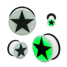 Acrylic Glow Dark Star Single Flared Plugs With Black O-RING