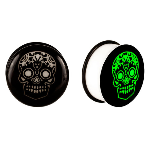 Acrylic GLOW IN THE DARK Skull Single Flared Plu Black #1 |