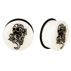Acrylic GLOW IN THE DARK Skull Single Flared Plugs Black #2