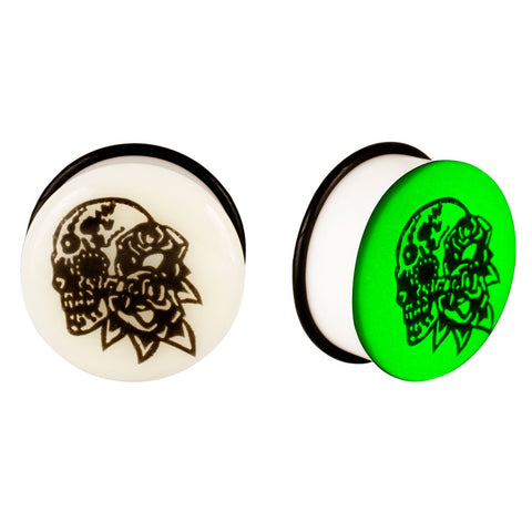 Acrylic GLOW IN THE DARK Skull Flowers Double Flared Plugs Black