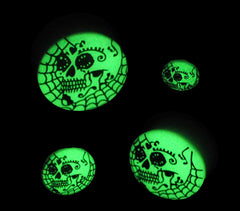 Acrylic GLOW IN THE DARK Skull Web Single Flared Plugs Black