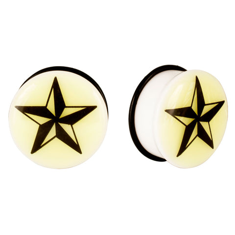 Acrylic GLOW IN THE DARK Star Single Flared Plugs Black