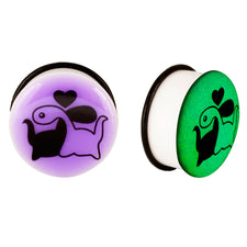 Acrylic GLOW IN THE DARK Dinosaur Love #1 Single Flared Plugs