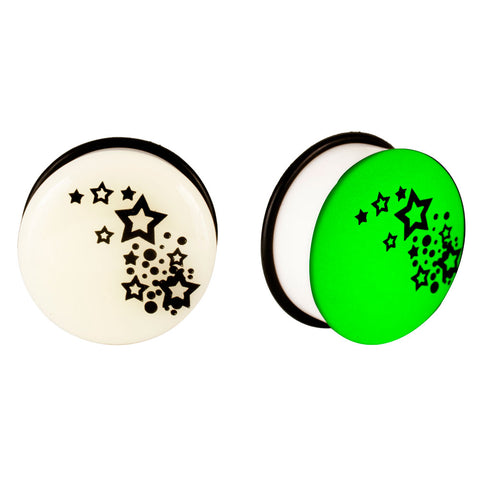 Acrylic GLOW IN THE DARK Stars #2 Single Flared Plugs Pink