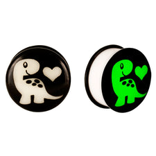 Acrylic GLOW IN THE DARK Dinosaur Love #2 Single Flared Plugs
