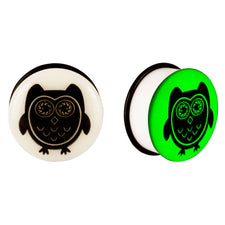Acrylic GLOW IN THE DARK Owl Single Flared Plugs Black