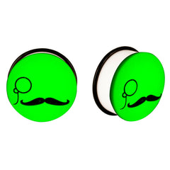 Acrylic GLOW IN THE DARK Monocle Mustache Single Flared Plugs