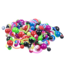 LOT 50 pcs UV Flames Assortment FLEXIBLE Belly Button Rings