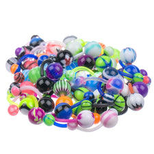 LOT 50 pcs Super Mixed Assortment FLEXIBLE Belly Button Rings