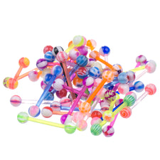 LOT 50 pcs Multi Color Assortment FLEXIBLE Tongue Rings Barbells