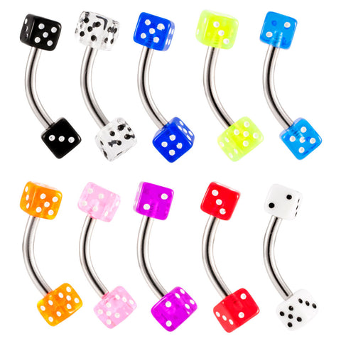 UV Acrylic Dice Curved Barbell Belly Ring