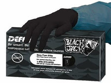 Box of Defend Black Medical Latex Gloves