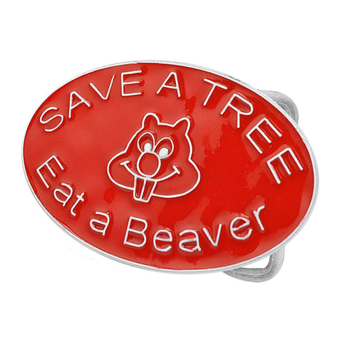 Unisex Save a Tree Eat a Beaver Humor Belt Buckle  Color
