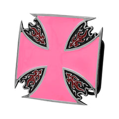 Pink Enamel Maltese Cross & Flames Belt Buckle