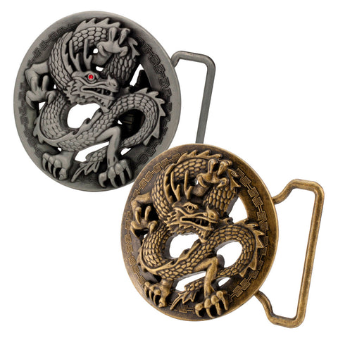 Unisex 3D Ancient Chinese Dragon Belt Buckle Circle