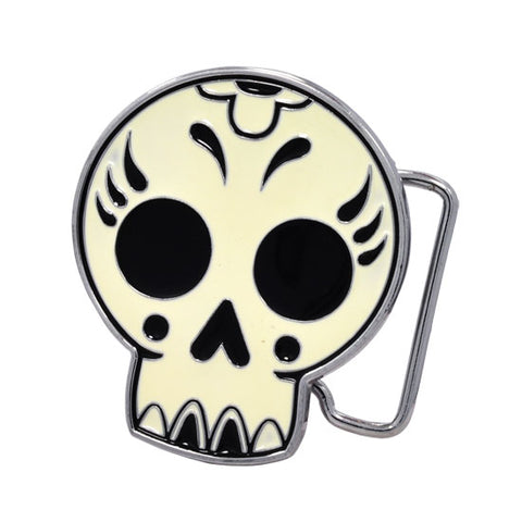 Girly Mexican Dia De Muertos Cute Skull Belt Buckle