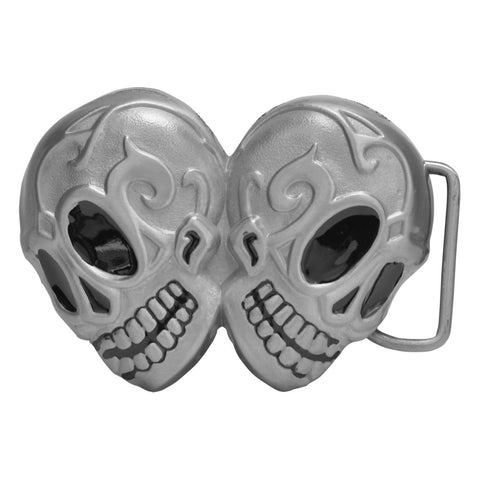Double Mexican Sugar Skull Day of Dead Black Silver Belt Buckle