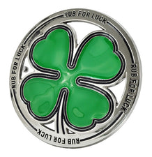 RUB FOR LUCK - Shamrock 4 Leaf Clover Irish Belt Buckle