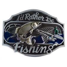 I'd Rather Be Fishing Belt Buckle Redneck Western Sport