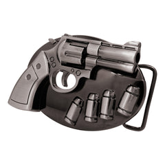 Black Chrome Revolver Pistol with Spinning Cylinder Belt Buckle