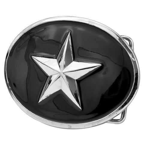 3D Star on Enamel Oval Belt Buckle