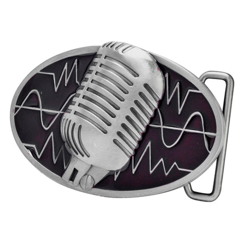 Unisex Retro Vintage Microphone Sound Wave Belt Buckle