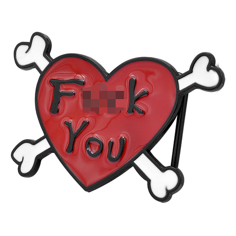 F**k You Heart & Crossbones Belt Buckle