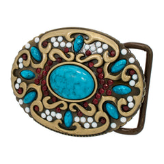 Western Native American Belt Buckle Turquoise Stone Indian