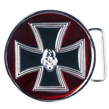 Enamel Round Iron Maltese Cross Belt Buckle