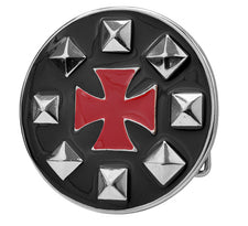Enamel Studded Maltese Cross Belt Buckle Iron