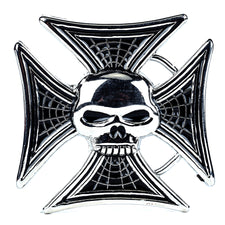 Maltese Iron Cross & Skull Belt Buckle